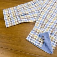 Grenouille Ladies Long Sleeve Blue, Beige and Brown Check Cotton Oxford Shirt